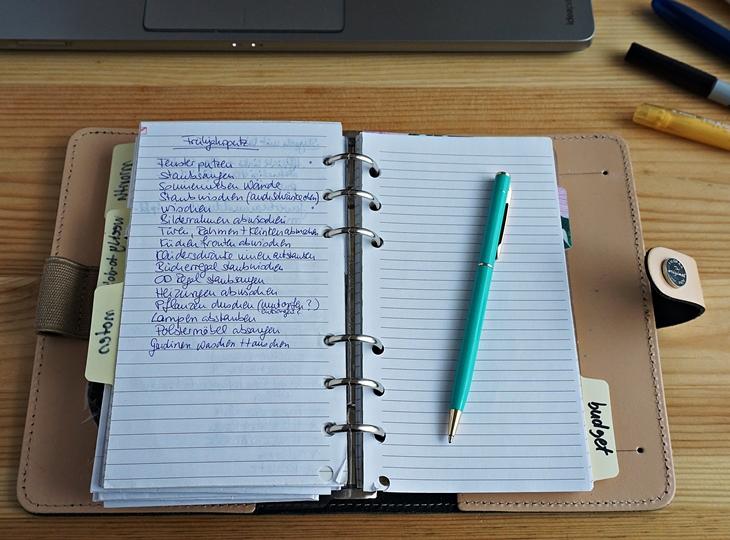 Filofax Beispielseite Notizen mit Fahrplan Frühjahrsputz