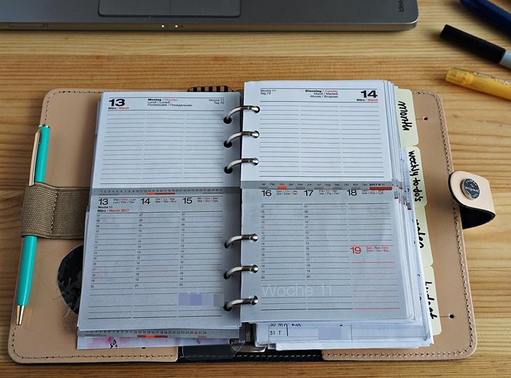 Filofax Kalenderteil mit Lediberg Wochenkalender