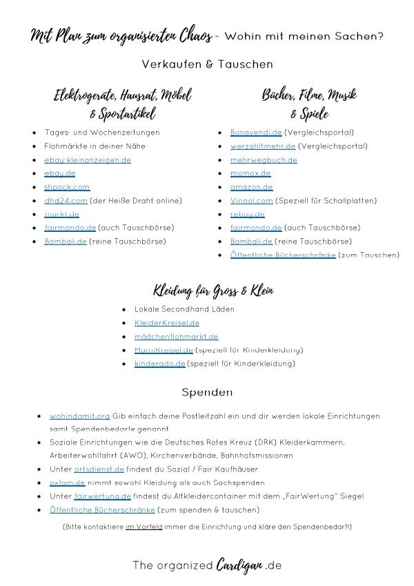 Mit Plan zum organisierten Chaos - Verkaufen und Spenden Liste