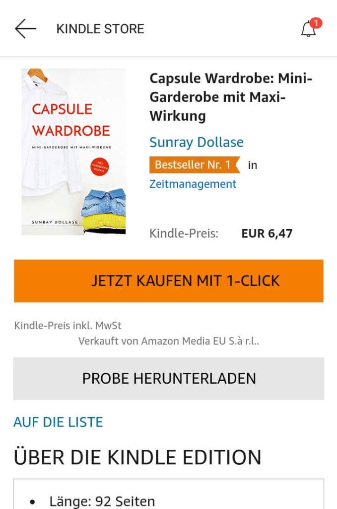 Capsule Wardrobe eBook von Sunray Dollase mit Bestsellerstatus auf Amazon